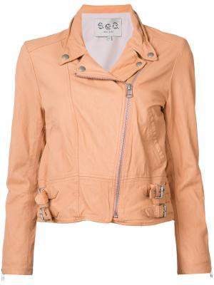 Байкерская куртка Sea. Цвет: белый