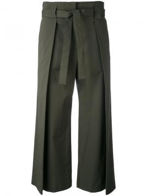 Расклешенные брюки с завязками на поясе Fabiana Filippi. Цвет: зелёный