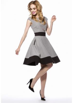 Платье MY STYLE. Цвет: черный (черно-белый)