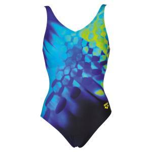 Купальник цельный для занятий в бассейне ARENA. Цвет: синий/наб. рисунок