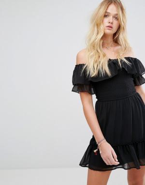 Hollister Платье в стиле бохо с открытыми плечами. Цвет: черный