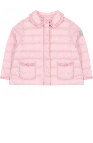 Пуховая куртка с оборками Il Gufo. Цвет: розовый