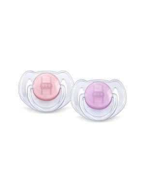 Пустышка Philips Avent серия Classic SCF170/22, 2 шт., 6-18 мес.. Цвет: розовый, фиолетовый