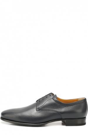 Классические кожаные дерби A. Testoni. Цвет: темно-синий