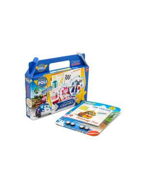 Настольная игра в чемоданчике Робокар Поли Собирайка с 3D пазлом-конструктором комплекте. Robocar Poli. Цвет: синий, зеленый, розовый