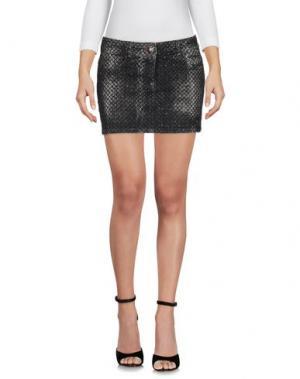 Джинсовая юбка PHILIPP PLEIN. Цвет: стальной серый