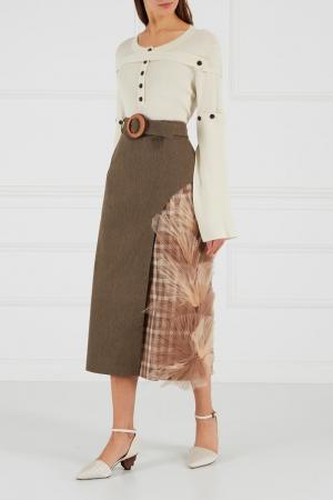 Хлопковая юбка с отделкой Ruban. Цвет: none