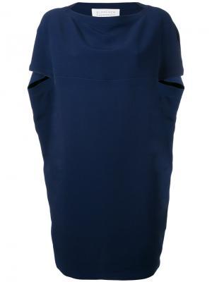 Платье с рукавами-кап Gianluca Capannolo. Цвет: синий