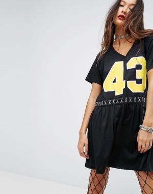 ASOS Свободное спортивное платье с сетчатой отделкой PUNK. Цвет: черный