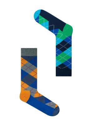 Набор Шерлок Холмс (2 пары в упаковке), дизайнерские носки SOXshop. Цвет: синий, зеленый, светло-оранжевый