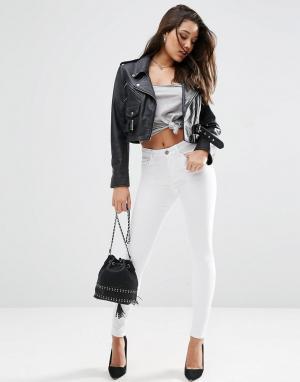 ASOS Белые джинсы скинни с завышенной талией RIDLEY. Цвет: белый