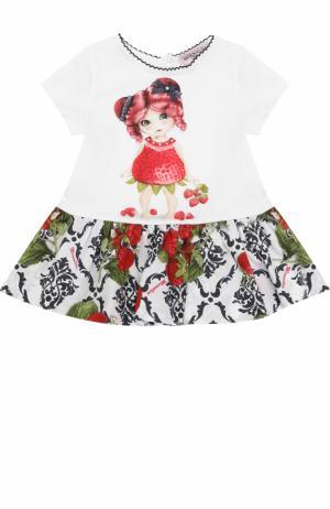 Платье с принтом и контрастной отделкой Monnalisa. Цвет: белый