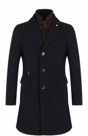 Шерстяное однобортное пальто с подстежкой L.B.M. 1911. Цвет: синий