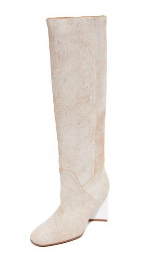 Сапоги с голенищем Maison Margiela. Цвет: белый