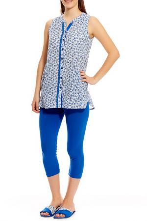 Пижама с капри Relax Mode. Цвет: ярко-голубой