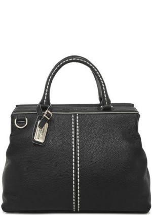 Кожаная сумка с контрастной строчкой Plinio Visona. Цвет: черный