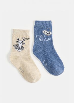Комплект из 2 пар носков OSTIN. Цвет: пыльно-голубой