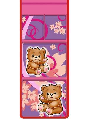 Кармашек в шкафчик для детского садика Мишки Мое. Цвет: розовый