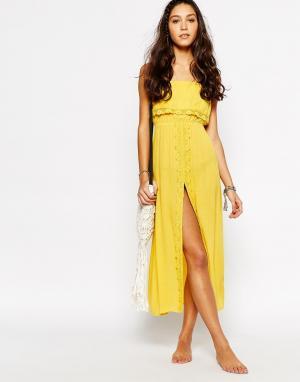 Akasa Кружевное пляжное платье макси с разрезом. Цвет: желтый