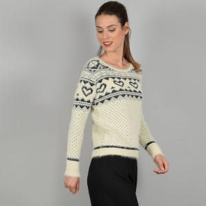 Пуловер с круглым вырезом из тонкого трикотажа MOLLY BRACKEN. Цвет: бежевый
