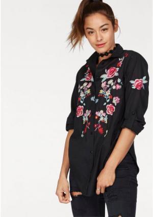 Удлиненная блузка AJC. Цвет: черный с рисунком