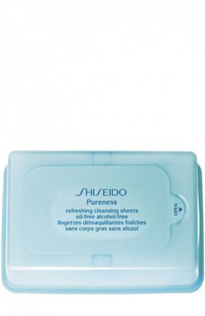 Освежающие очищающие салфетки Pureness Shiseido. Цвет: бесцветный