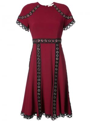 Eyelet embellished short sleeved dress Jonathan Simkhai. Цвет: красный