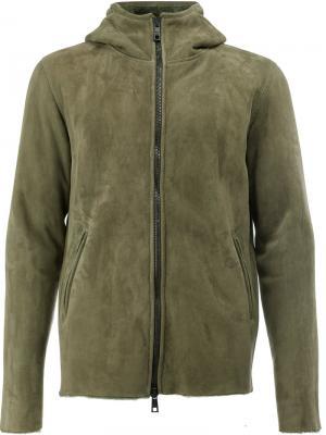 Куртка на молнии с капюшоном Giorgio Brato. Цвет: зелёный