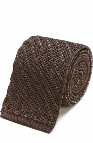 Шелковый вязаный галстук Tom Ford. Цвет: оливковый