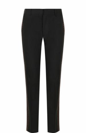 Шерстяные брюки прямого кроя с лампасами Alexander McQueen. Цвет: черный