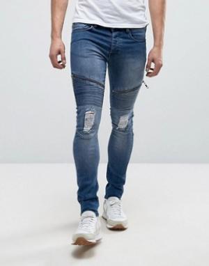 Loyalty & Faith Выбеленные супероблегающие эластичные джинсы and Arundel. Цвет: синий