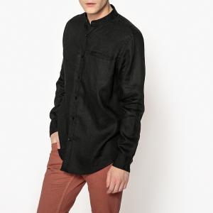 Рубашка прямого покроя со стоячим воротником из льна La Redoute Collections. Цвет: бежевый,белый,небесно-голубой,светло-розовый,серо-коричневый каштан,синий морской,черный
