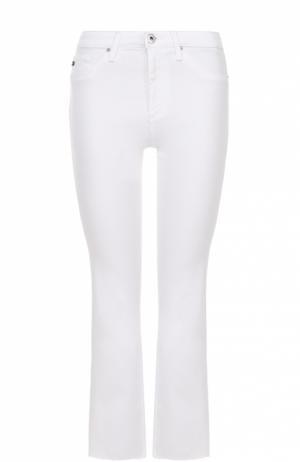 Укороченные расклешенные джинсы с необработанным краем Ag. Цвет: белый