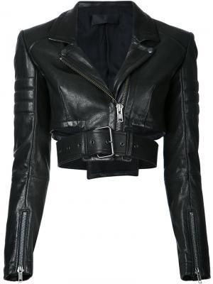 Укороченная байкерская куртка Miza Haider Ackermann. Цвет: чёрный