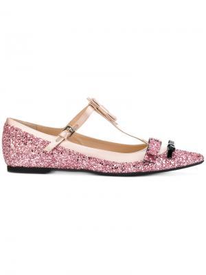 Блестящие балетки Nº21. Цвет: розовый и фиолетовый