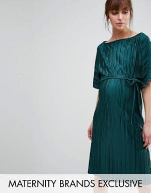 Queen Bee Плиссированное цельнокройное платье. Цвет: зеленый