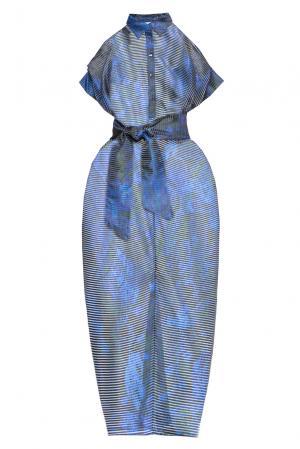 Платье с поясом 160653 Infinee. Цвет: синий