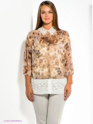 Блузка SUGARLIFE. Цвет: коричневый, белый