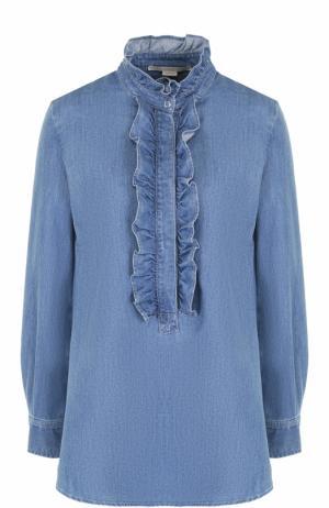 Джинсовая блуза с оборками и укороченной спинкой Stella McCartney. Цвет: голубой