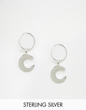 Fashionology Серебряные серьги‑кольца с полумесяцами. Цвет: серебряный