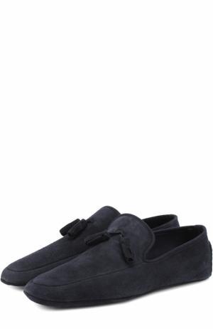Домашние замшевые туфли A. Testoni. Цвет: синий