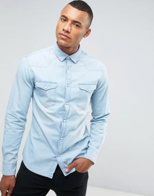Celio Выбеленная джинсовая рубашка. Цвет: синий