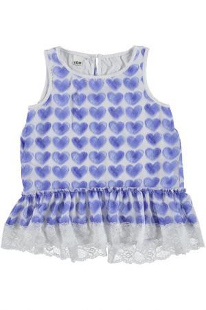 Блузка IDO. Цвет: белый, голубой