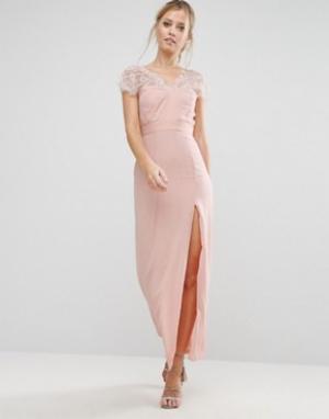Elise Ryan Кружевное платье макси с V-образным вырезом сзади. Цвет: розовый