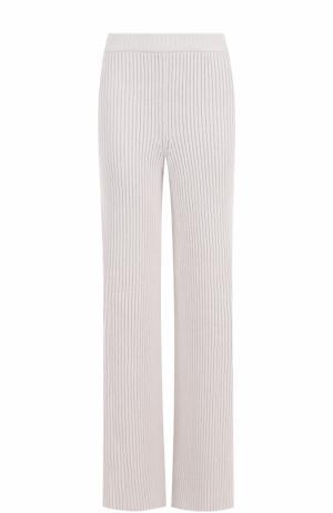 Шерстяные расклешенные брюки фактурной вязки MRZ. Цвет: светло-серый