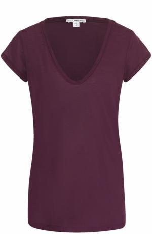 Хлопковая футболка с V-образным вырезом James Perse. Цвет: бордовый