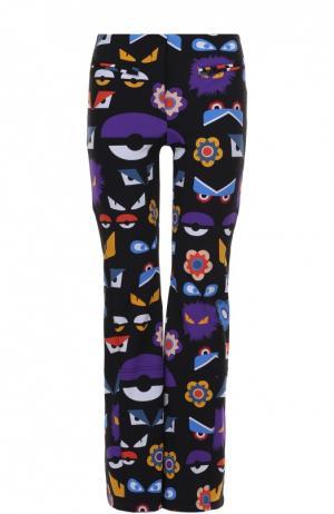 Утепленные расклешенные брюки с контрастным принтом Fendi. Цвет: черный