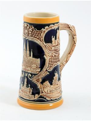 Пивная кружка коллекционная Замки Германии BURGER. Цвет: коричневый, оранжевый, темно-бежевый