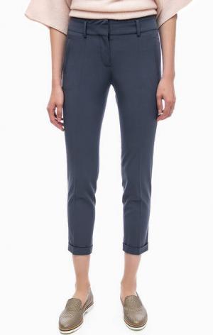 Синие зауженные брюки в классическом стиле Stefanel. Цвет: синий