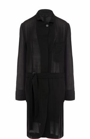Пальто свободного кроя с поясом Ann Demeulemeester. Цвет: черный